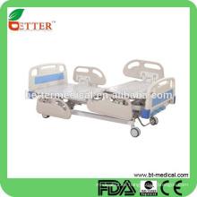 Cama de hospital manual de 3 funciones con la cama de hospital de los carriles laterales de los PP para los pacientes paralizados
