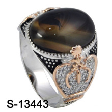 New and Nice Micro Setting Silver Men Ring with Agate Stone (S-13443)