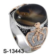 Novo e agradável micro ajuste prata homens anel com pedra de ágata (s-13443)