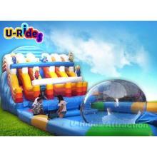 Cartoon Blue Inflatable Water Slide Park / Amazing Inflatab