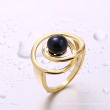 Chine fabricant bijoux conclusions noir perle bague bague en or pour fille