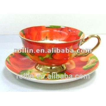 Bone china coffee cups and saucers,porcelain wholesale coffee cup and saucer,personalized tea cups & saucers