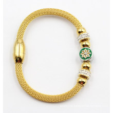 Gold Plated Stainless Steel Bangle with Charms