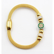 Bracelete de aço inoxidável banhado a ouro com encantos