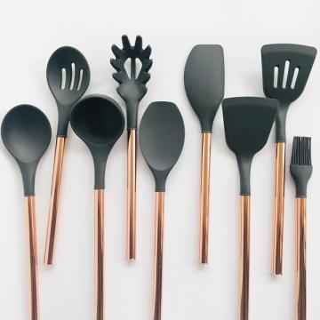 Ensemble de 9 ustensiles de cuisine en silicone en acier inoxydable