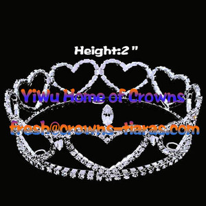Heart Shaped Pageant Round Crowns