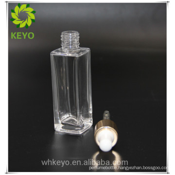 30ml empty square rectangular glass bottle dropper gold frosted for cosmetic packing