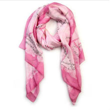 beautiful lady printing square silk scarf