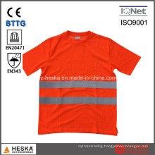 Round Neck Reflective Safety Short Sleeve Hi Vis Cotton Shirt