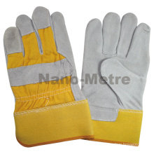 "NMSAFETY 10.5""AB grade 190-220g Industrial Double palm safety yellow cow spilt leather welding gloves"