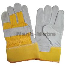 "NMSAFETY 10.5 ""classe AB 190-220g Industrial Double palm segurança vaca amarela derramou luvas de soldagem de couro"