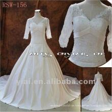 RSW156 2012 Spitze-langes Hülsen-V-Ansatz Satin-Hochzeits-Kleid