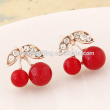 Jinhua 2016 cherry red zircon crystal beautiful unique earring findings alloy