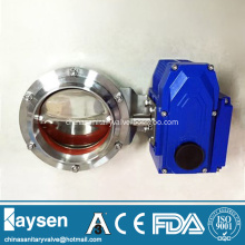 DIN Food Grade Electric Butterfly Valves Welded