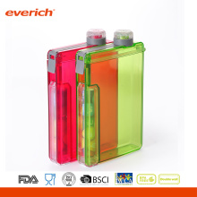 Bottle Flat Portable Notebook Water Bottle BPA Free With A Candy Container