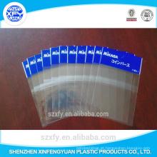 Saco de plástico transparente auto-adesivo com cabeçalho
