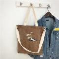 Shoulder Bag Tote Shopping Embroidery Female Handbag