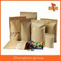 Personalizar el papel kraft resellable a prueba de humedad de pie hasta bolsa de cremallera con ventana y la impresión de café, bocadillos, frutos secos