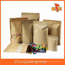 OEM moisture proof resealable custom kraft paper coffee bag with window for storage