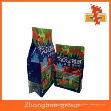 Alta qualidade eco-friendly Flat bottom sacos / BLOCK BOTTOM BAG com zipper