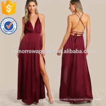 Plunge Neck Crisscross Back High Slit Wrap Cami Dress Manufacture Wholesale Fashion Women Apparel (TA3171D)