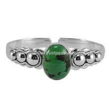 Ali Express Trendy tibetischen Türkis Edelstein 925 Sterling Silber Armreif Designer Armband