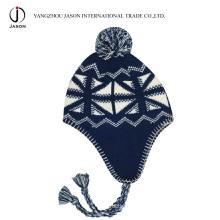 Chapéu de aba de orelha de inverno chapéu de aba de orelha quente Kitted acrílico de malha Beanie acrílico de malha chapéu de aba de orelha chapéu de Bobble