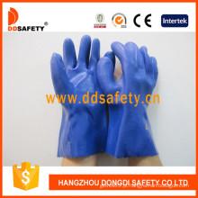 Luvas químicas terminadas lisas do PVC, cor azul (DPV116)