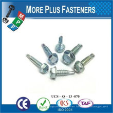 "Taiwan 1/4""-14 x 1-1/4"" Indent Hex Unslot Hex Washer Head Epoxy #3 410 Stainless Steel Bonded Sealing Washer Self-Drilling Screw"