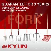 Meilleure vente Pitchfork de fibre de verre d'outils de ferme de jardin avec la poignée en bois