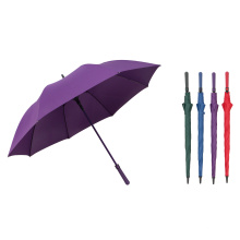 Long Stick Auto Open Fiberglass Frame Solid Color Golf Umbrella