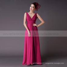 V neck Long chiffon patterns convertible peach bridesmaid dress