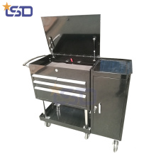 Caja de herramientas de acero con rodillo de metal / cofre con 4 cajones Caja de acero de acero con ruedas de metal / pecho con 4 cajones