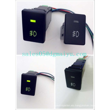 Interruptor de empuje de luz antiniebla Toyota 12V 3 AMP Interruptor de marcha adelante e interruptor de encendido OEM con luz LED verde doble