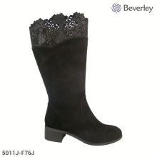 bullock carved hollow out plush knee boots