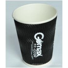 Copos de papel ondulado avançados, copos de papel descartáveis da isolação quente