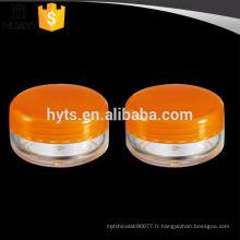 emballage cosmétique de petite capacité 3g pot de crème avec des couvercles de PP