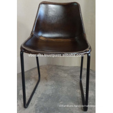 Industrial Leather Chair Dark Color Seat with X stich