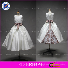 ED Bridal Real Pictures Beaded Bow Belt Lace Appliqued Tea Length Ivory Satin Flower Girl Dress
