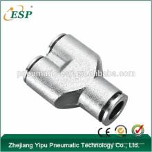 Acessórios pneumáticos da tubulação dos encaixes pneumáticos do metal do conector da forma da união Y de ESP