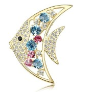 Fish-Shaped Fashionable Rhinestone Brooch