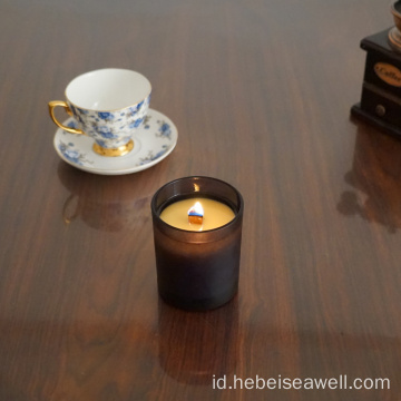 Wax Soy Wax Wood Wick Black Jar Lilin