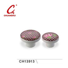 Beautiful Ceramic Knob Handles with Flower Pattern (CH13913)