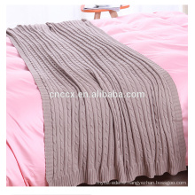 PK17ST376 rib knitted wool cashmere blanket organic fabric throw