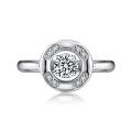 925 anéis de diamante de dança de prata com configuração micro CZ