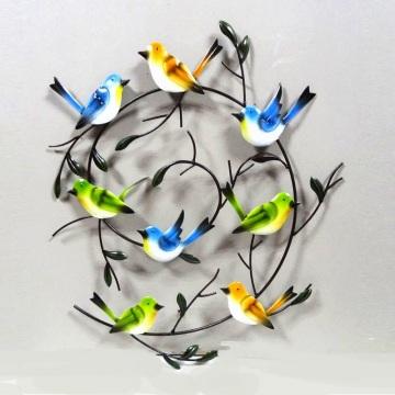 Decoração de parede artesanal de parede de pássaros para casa e jardim