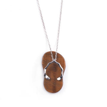 Gemstone Tiger Eye Necklace a Pairs Slipper Love Necklace Pendant for Jewelries Accessaries
