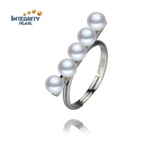 Anneau de perle d'eau douce 4.5-5mm AAA Near Round Fashion Pure Pearl Ring