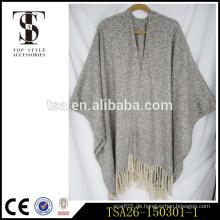Übergroße graue und weiße Schleife Garne klumpige sexy Wolle Kap Schal für chritmas Geschenk