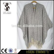 Gris oversize en gris et blanc en boucle châle sexy en laine en laine pour cadeau chritmas